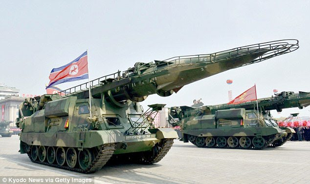 A North Korean ballistic missile on display during a military parade in Pyongyang in April this year