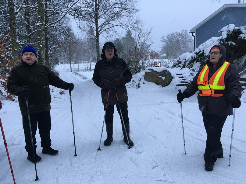 2021 Årets första promenad börjar hos Britt-Marie i snöfall.