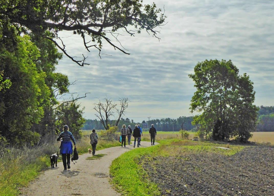 Både nöjda SPF-seniorer och två hundar deltag på promenaden.