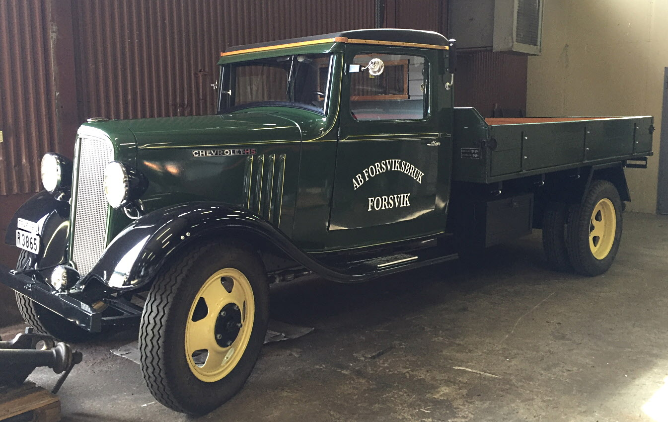 Brukets lastbil, en Chevrolet HS, som renoverats med hjälp av donationer.