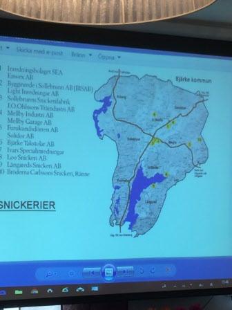 Karta över snickerier i gamla Bjärke kommun
