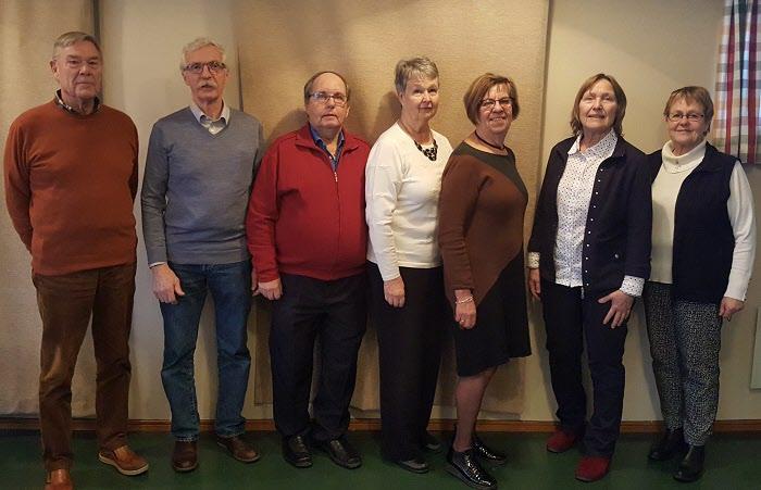 Styrelsen år 2020. Bo, Olle, Jan, Inger, Catarina, Margareta, Elisabeth. Saknas Kent och Lars.