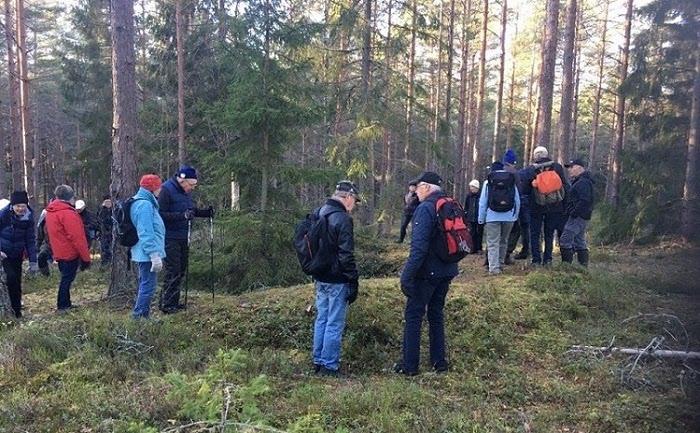 Pensionärer ute i skogen.