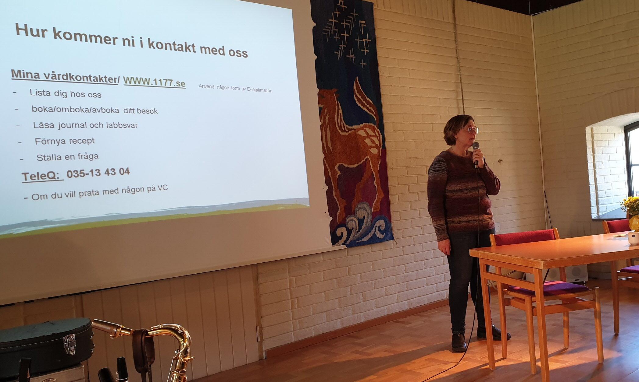 Verksamhetschef Susanne Svensson, Bäckagårds/Getinge Vårdcentral berättade om vårdcentralens arbete nu och i framtiden