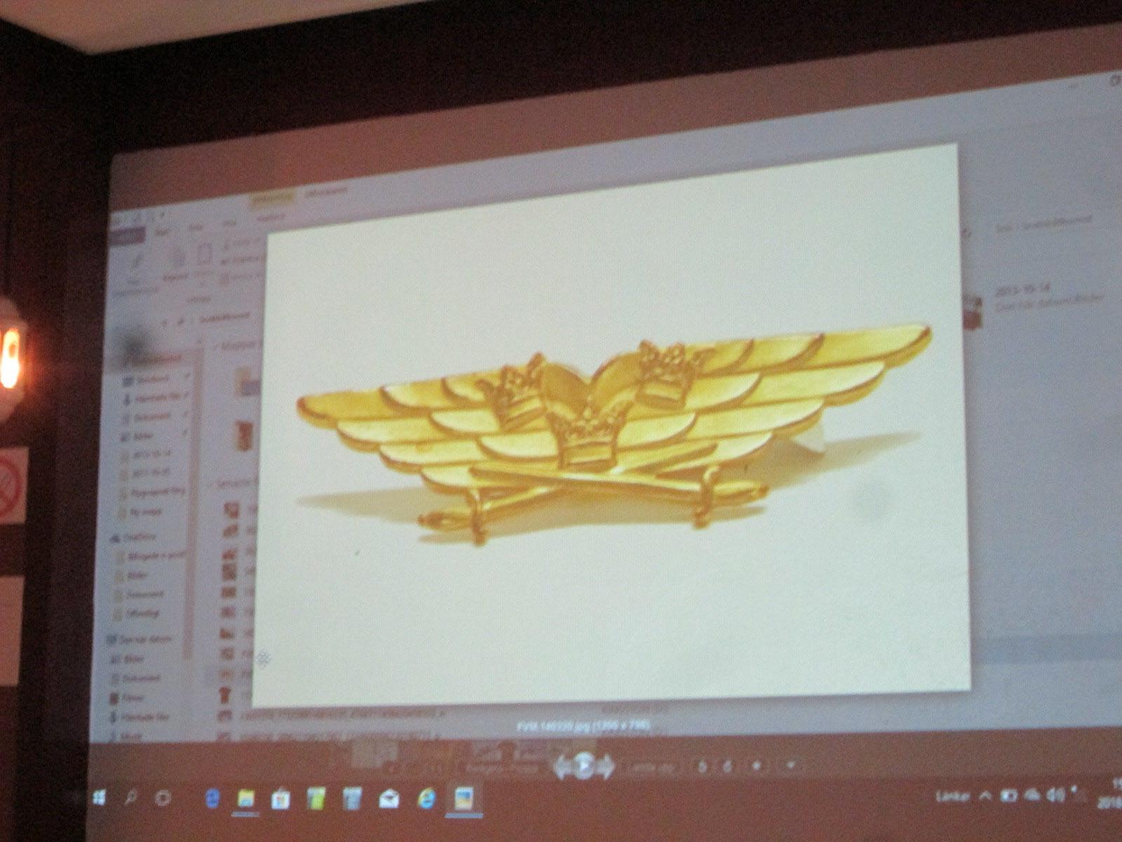 Det fina utmärkelseemblemet Guldvingarna